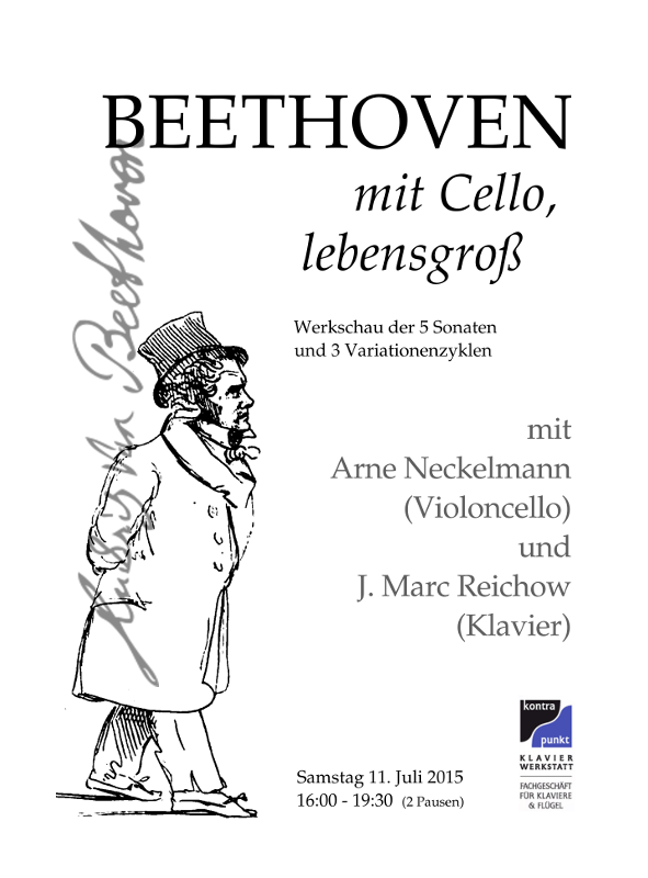 Klavierwerkstatt Kontrapunkt, München-Obermenzing - Duo Neckelmann-Reichow am 11.07.2015 mit Beethoven mit Cello, lebensgroß - Werkschau aller 5 Sonaten und 3 Variationenzyklen